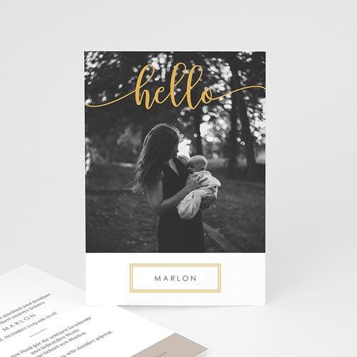 Geburtskarten mit Fotos Hallo Gold
