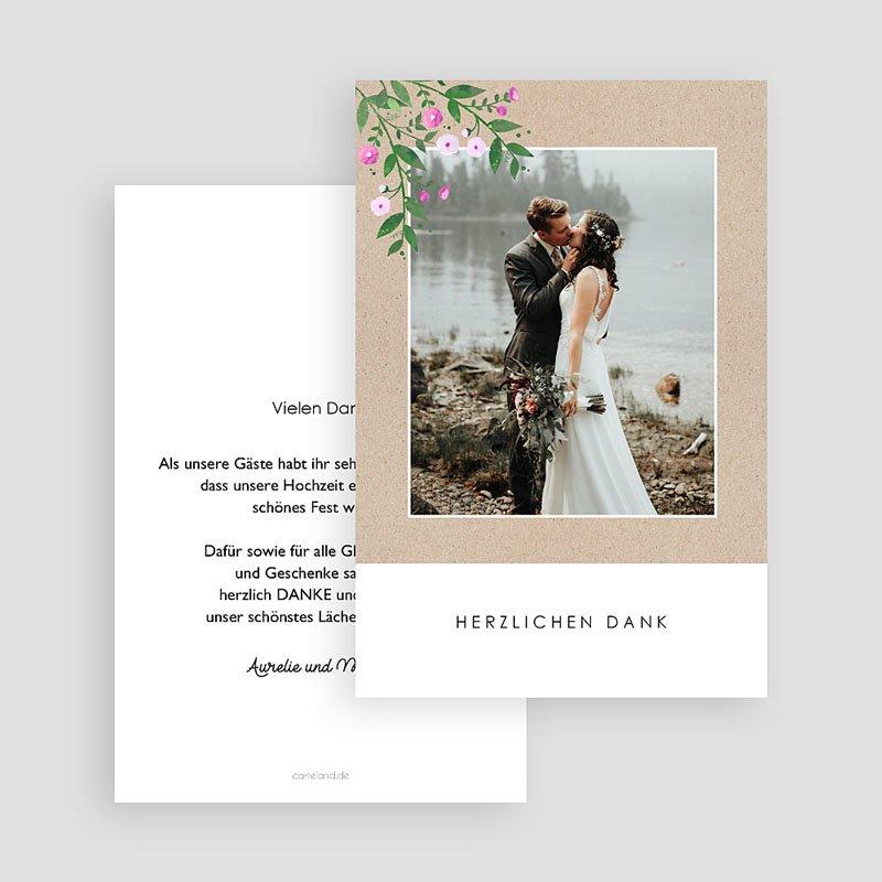 Dankeskarten Hochzeit mit Foto - Vintage Flower 63594 thumb
