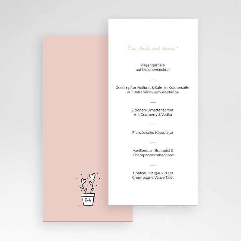 Menükarten Hochzeit 2 Herzen pas cher