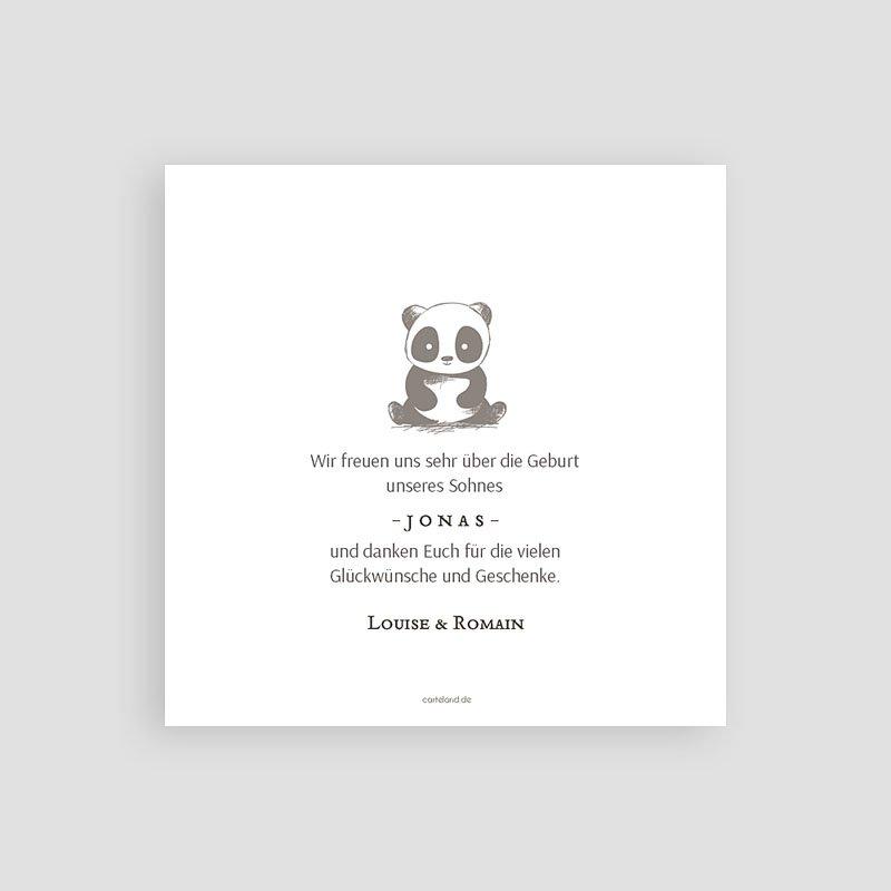 Dankeskarten Geburt Jungen Little Panda Zen pas cher