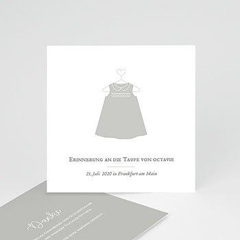 Dankeskarten Taufe Mädchen - Taufkleid - 0