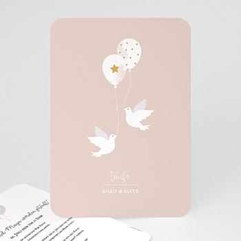 Einladungskarten Taufe Mädchen - Zwei Tauben - 0