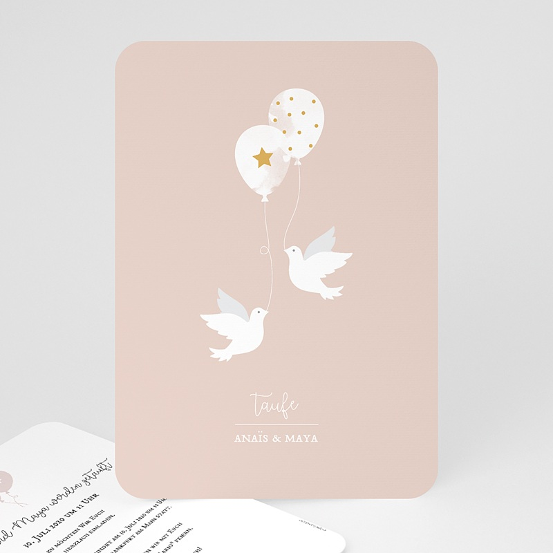 Einladungskarten Taufe Mädchen Zwei Tauben