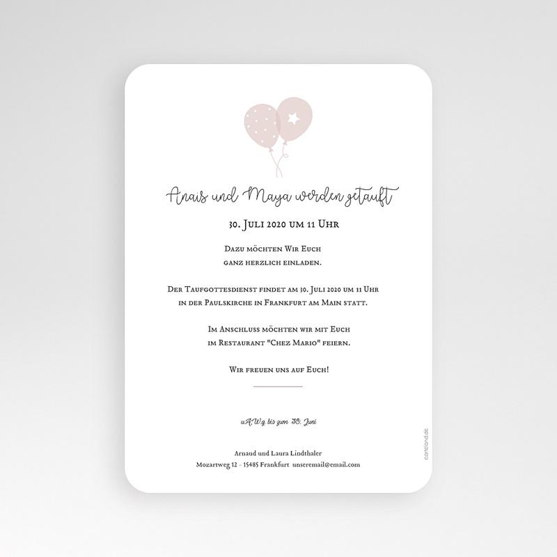 Einladungskarten Taufe Mädchen Zwei Tauben pas cher