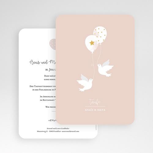 Einladungskarten Taufe Mädchen Zwei Tauben gratuit