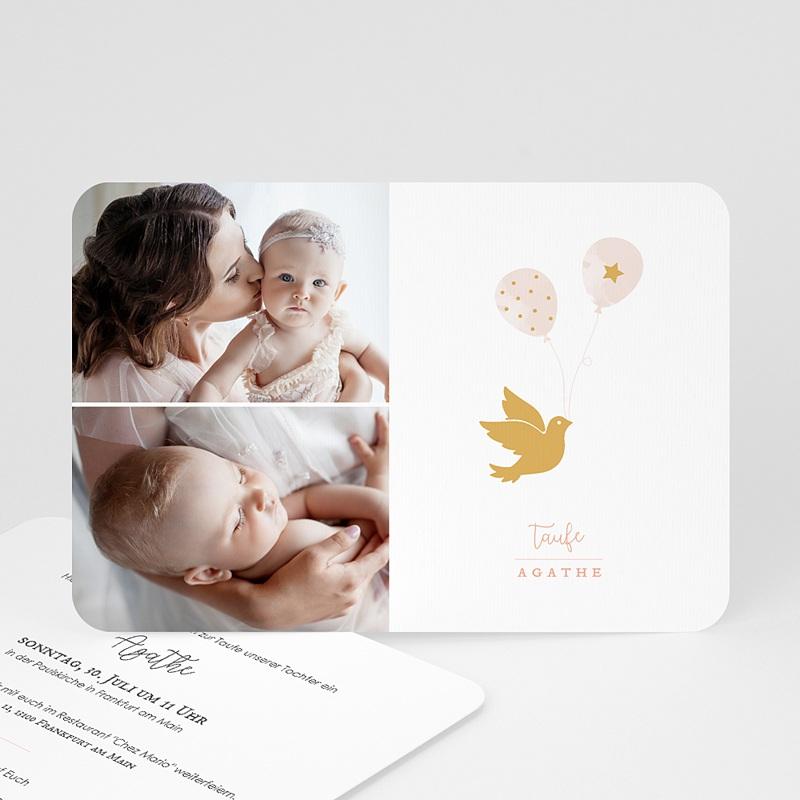 Einladungskarten Taufe Mädchen Goldtaube