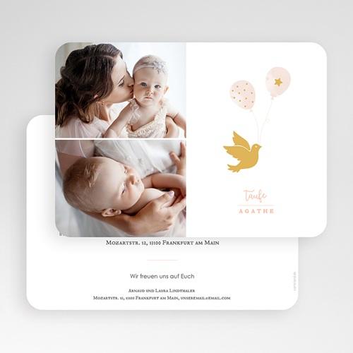 Einladungskarten Taufe Mädchen Goldtaube gratuit