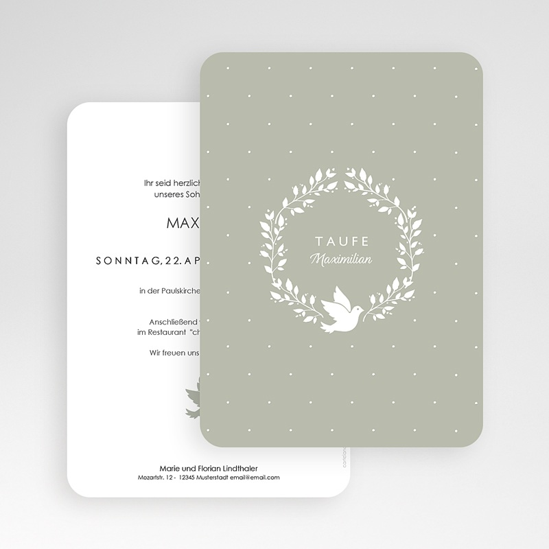 Einladungskarten Taufe Jungen  Symbol Taube gratuit