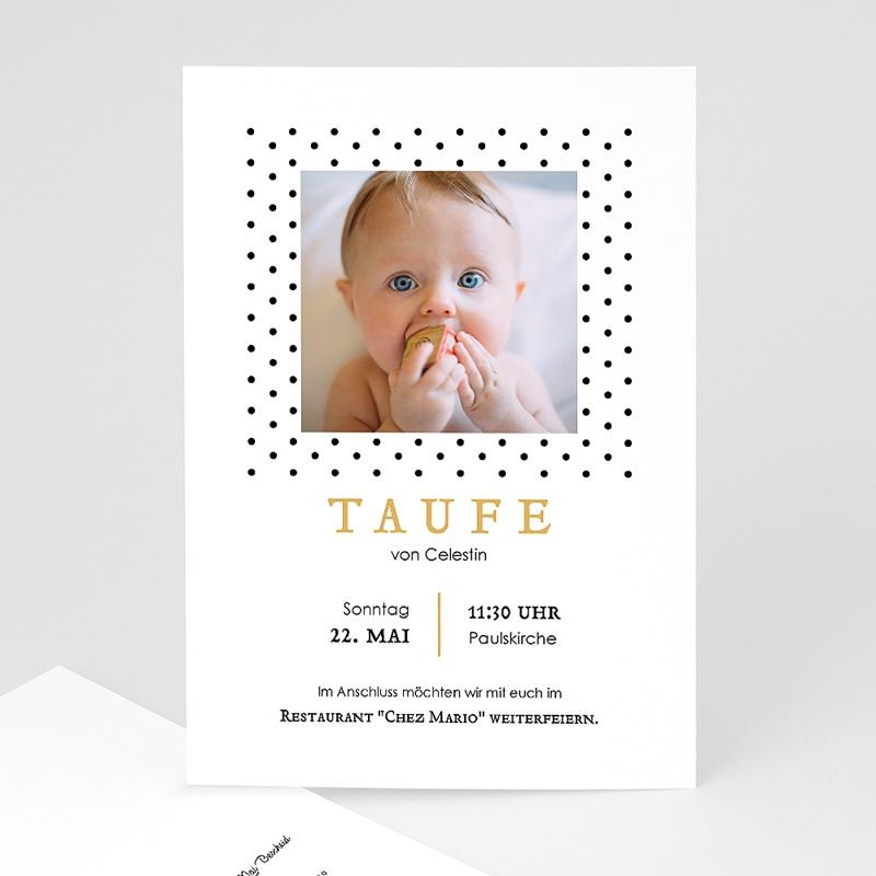 Einladungskarten Taufe Jungen  Punktemotiv