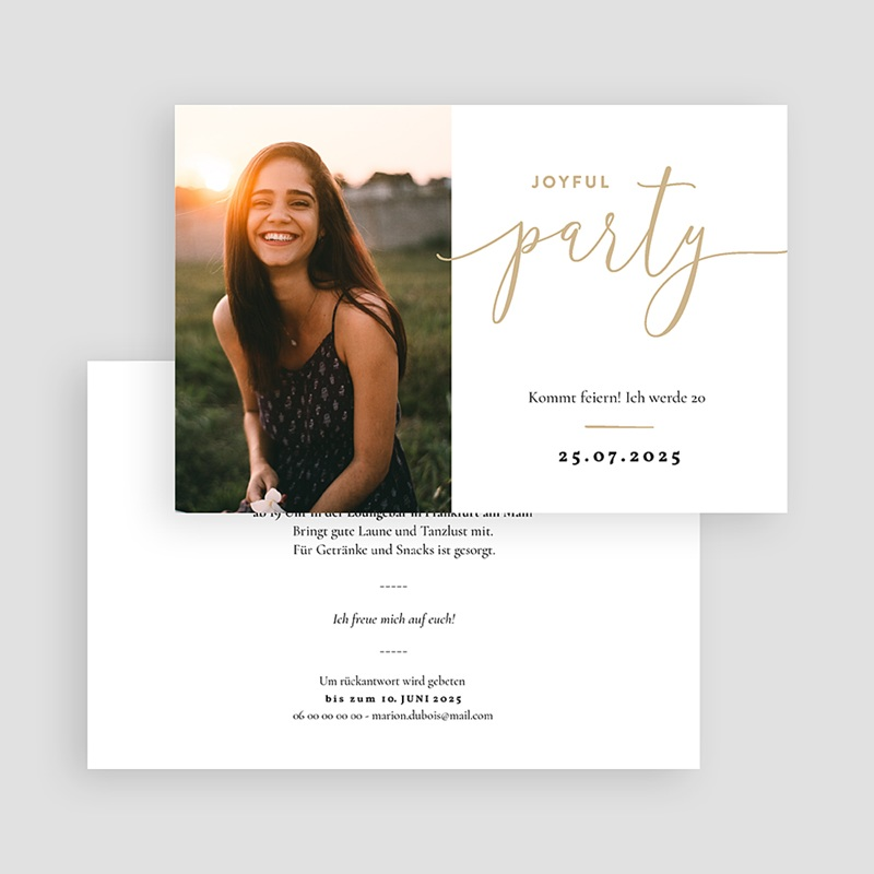 Einladung 20. Geburtstag Joyful 20 gratuit