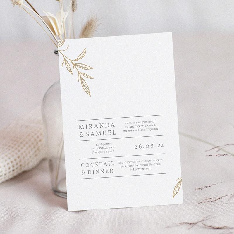 Einladungskarten Hochzeit  Minimalist Botanik