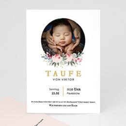 Einladungskarten Taufe Mädchen Watercolour floral