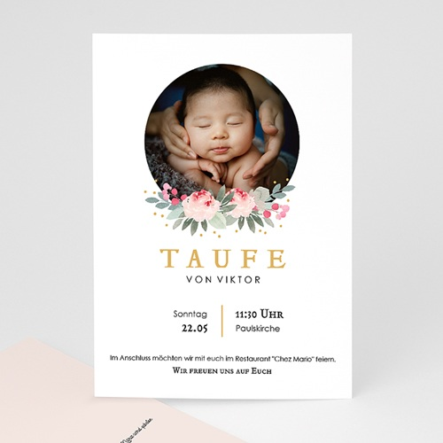 Einladungskarten Taufe Mädchen - Watercolour floral 64213 thumb