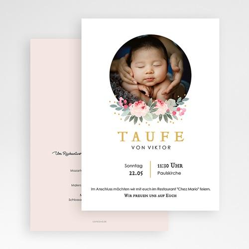 Einladungskarten Taufe Mädchen - Watercolour floral 64215 thumb