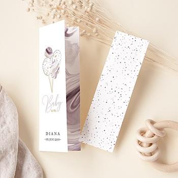 Geburtskarten für Mädchen Mamor Parme & Gold