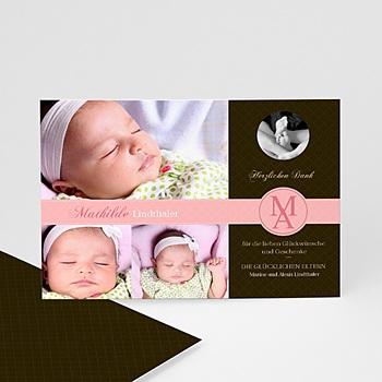 Dankeskarten Geburt Mädchen - Design - rosa - 1