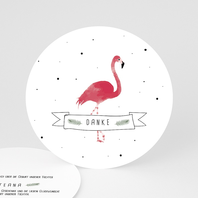 Danksagung Geburt Tiermotive - Flamingo exotisch 64789 thumb