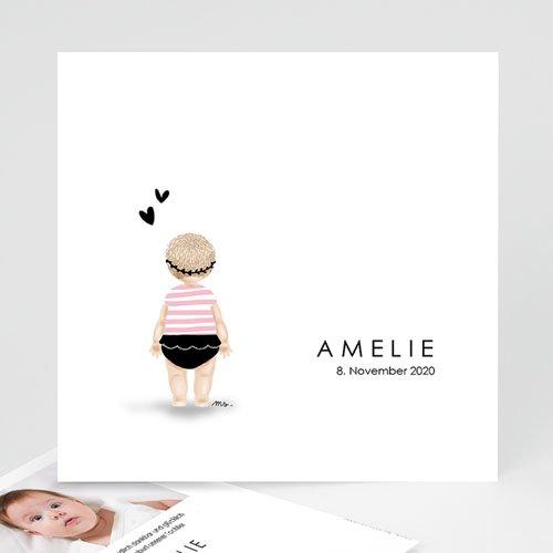 Geburtskarten für Mädchen Kleine Schwimmerin rose