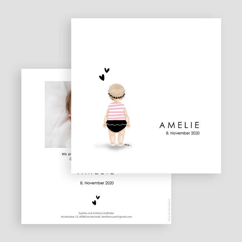 Geburtskarten für Mädchen Kleine Schwimmerin rose gratuit
