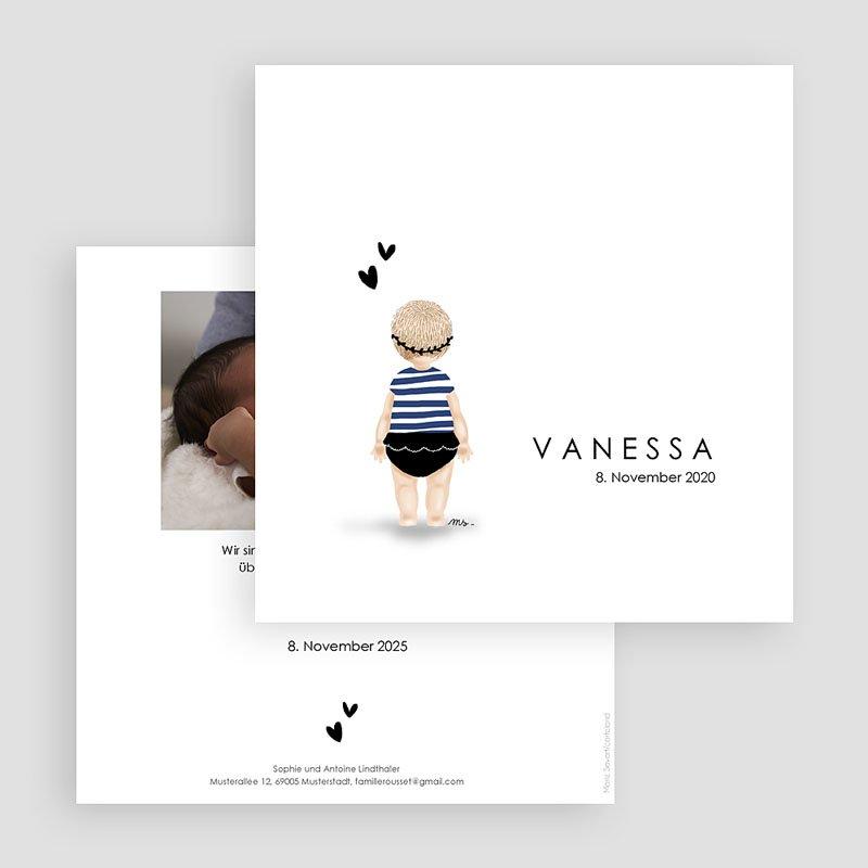 Geburtskarten für Mädchen Kleine Schwimmerin blau gratuit