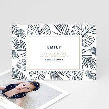 Geburtskarten für Mädchen Blaue Blätter
