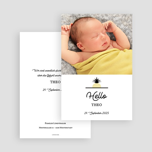 Geburtskarten für Jungen Little Ananas gratuit