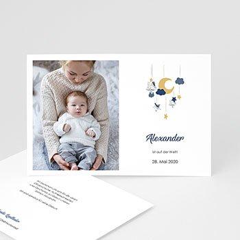 Geburtskarten für Jungen - Blaues Mobile - 0