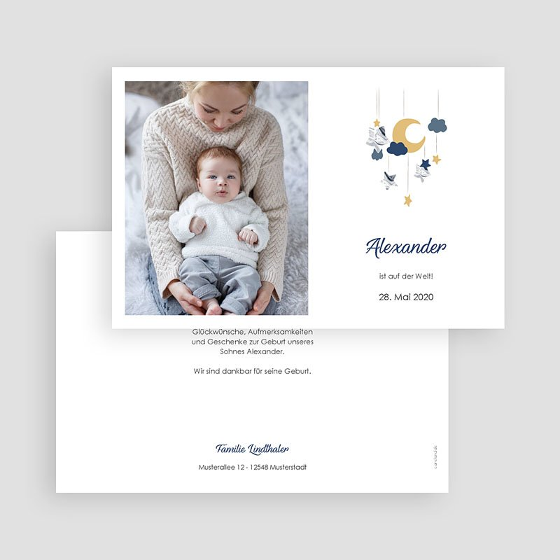 Geburtskarten für Junge Blaues Mobile gratuit