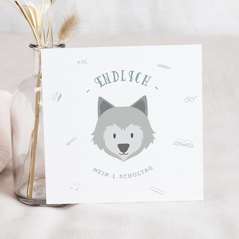 Einladungskarten Einschulung Kleiner Wolf