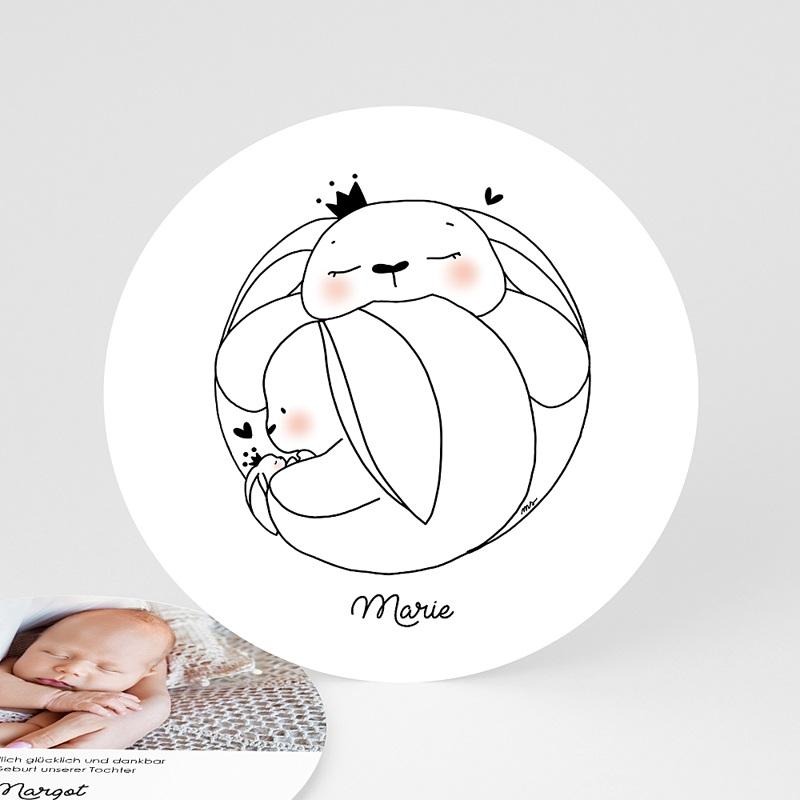Geburtskarten für Mädchen Familie Hase