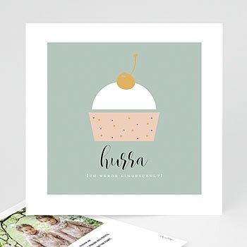Einladungskarten Einschulung - Cup Cake - 0