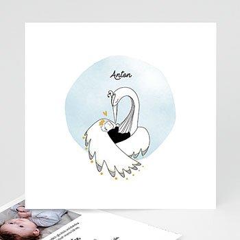 Geburtskarten für Jungen - Goldschwan - 0