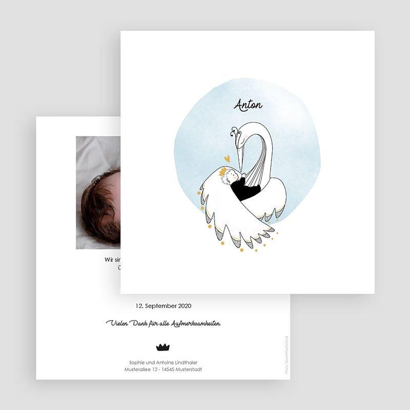 Geburtskarten für Jungen Goldschwan gratuit