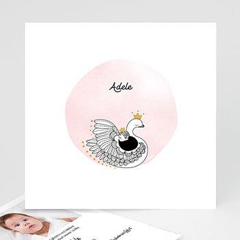 Geburtskarten für Mädchen - Rosa Schwan - 0
