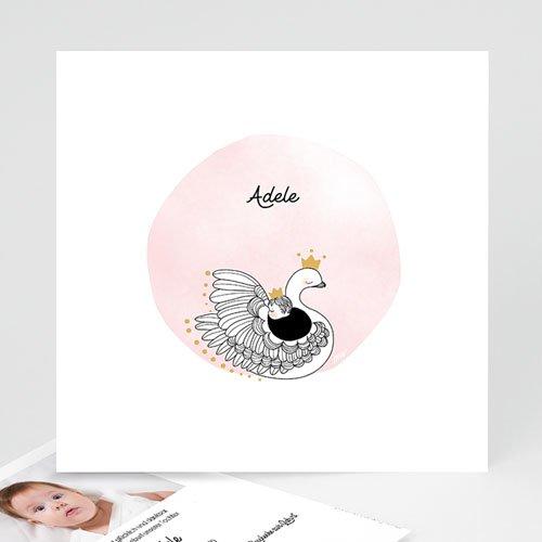 Geburtskarten für Mädchen Rosa Schwan