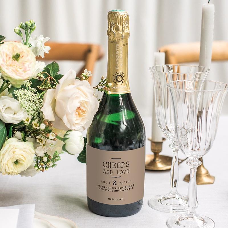 Flaschenetiketten Hochzeit Hazelnut gratuit