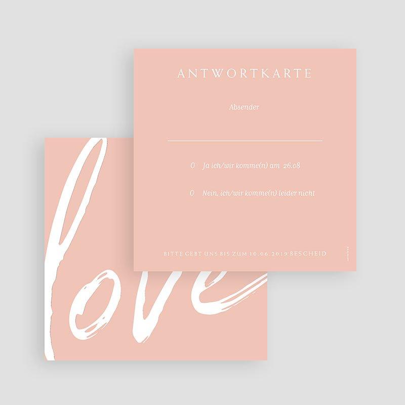 Einladungskarten Hochzeit Love rosé, 10 x 10 gratuit
