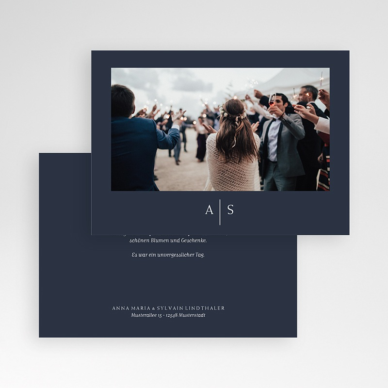 Dankeskarten Hochzeit - Love Blue 66334 thumb
