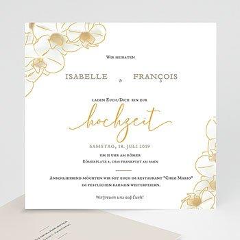 Hochzeitseinladungen traditionell Gold Orchidee
