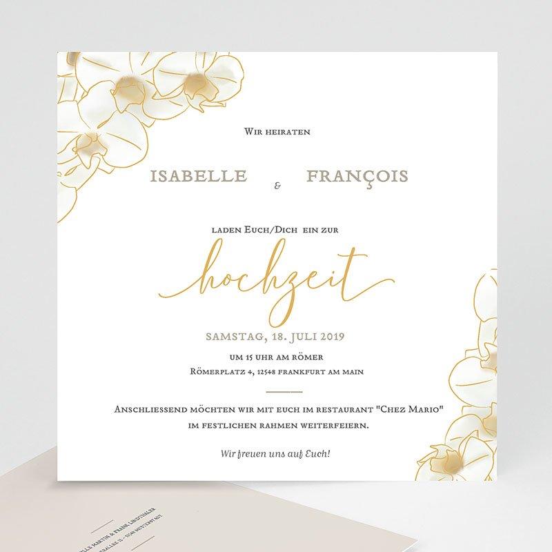 Traditionell Hochzeitseinladungen Gold Orchidee