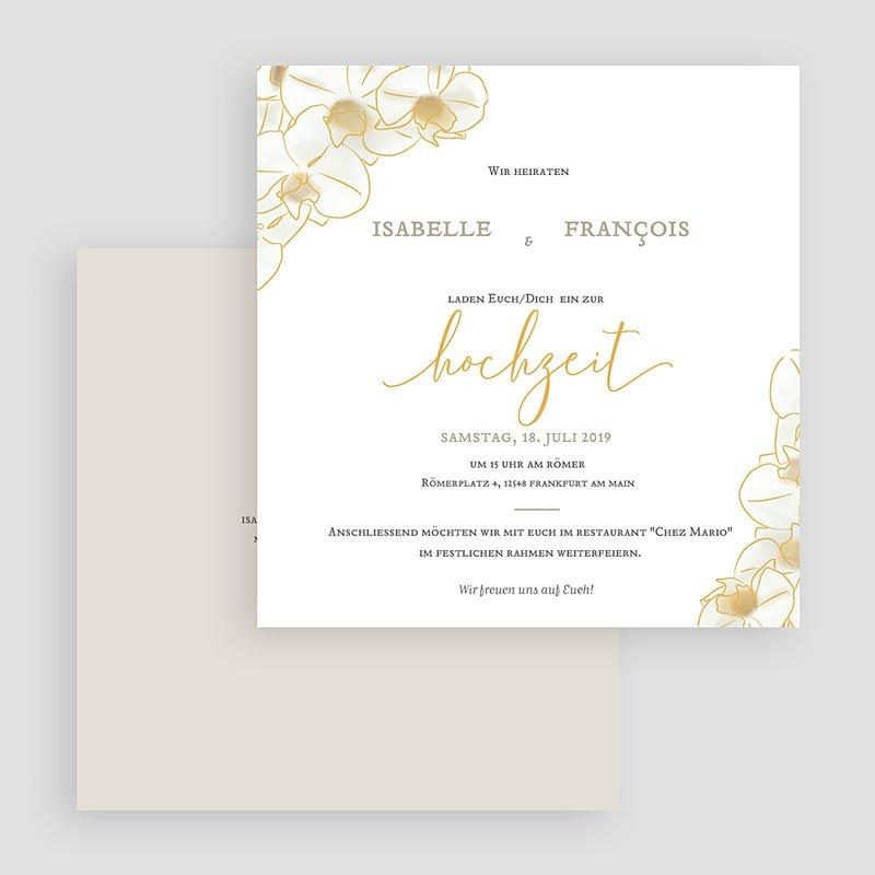 Traditionell Hochzeitseinladungen Gold Orchidee gratuit
