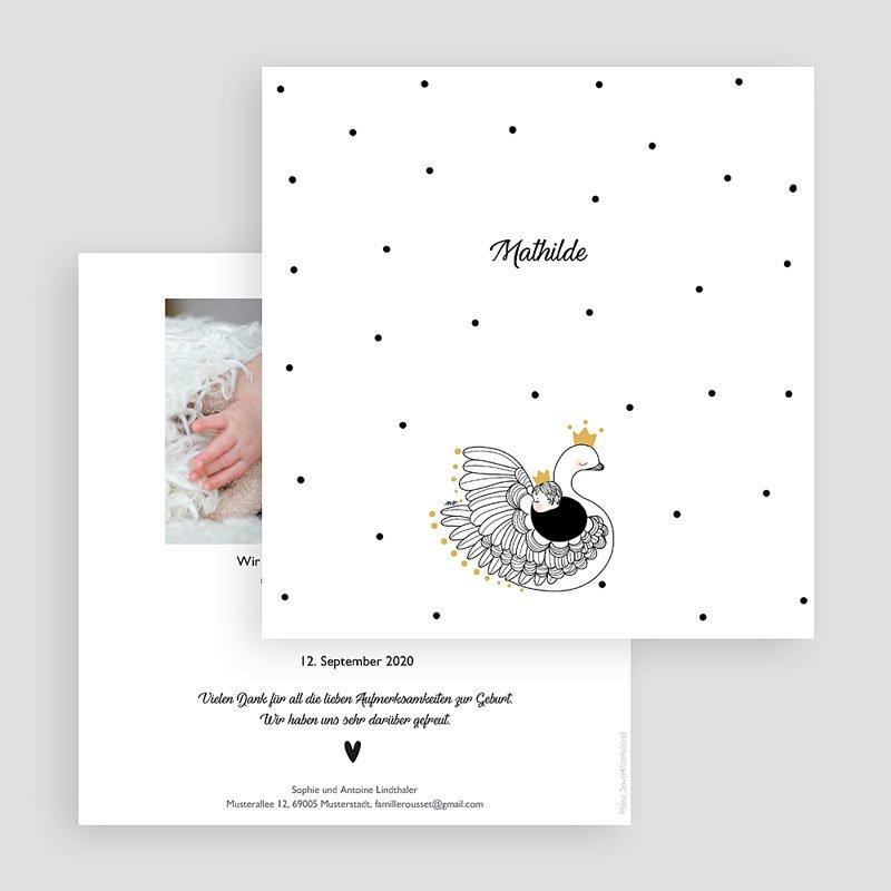 Geburtskarten für Mädchen Schwanenkind gratuit
