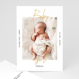 Karten Geburt Baby Girl Gold