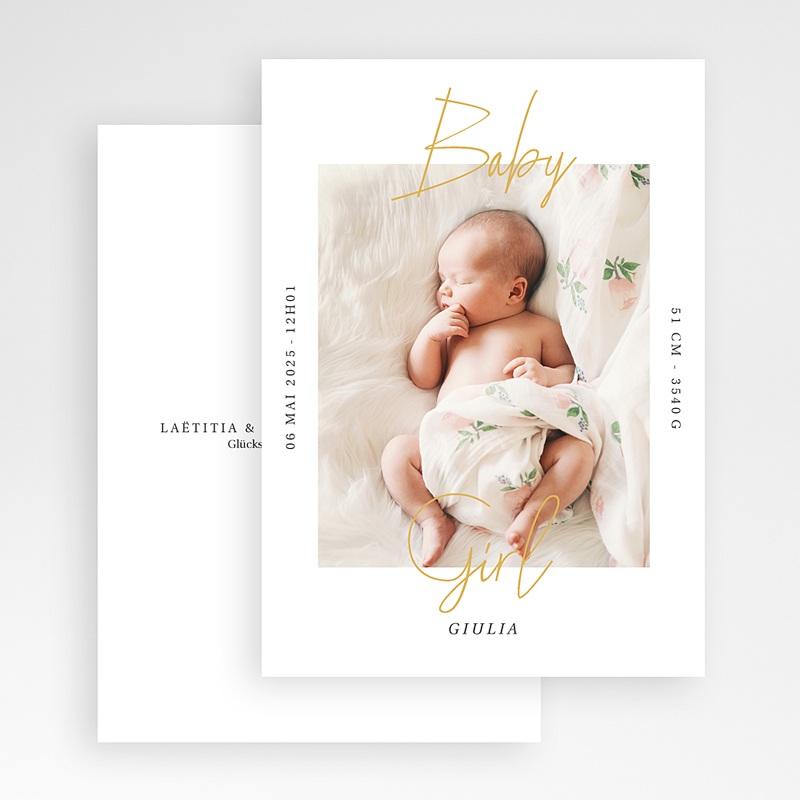 Geburtskarten für Mädchen Baby Girl Gold gratuit