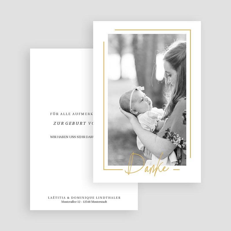 Dankeskarten Geburt Mädchen - Baby Girl Gold 66653 thumb