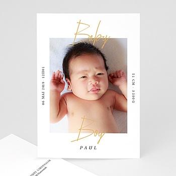 Geburtskarten für Jungen - Baby Boy Gold - 0