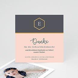 Danksagungskarten Geburt Pastell Rosé