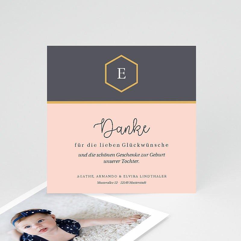 Dankeskarten Geburt für Mädchen Pastell Rosé