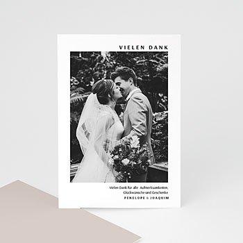 Dankeskarten Hochzeit mit Foto - Mokka Creme - 0