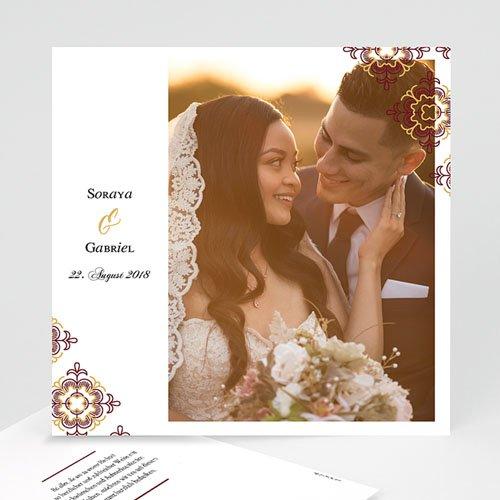Dankeskarten Hochzeit mit Foto Ottoman Rot